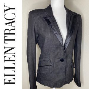 ELLEN TRACY Dark Denim Blazer Ribbon Trim Lapel 4